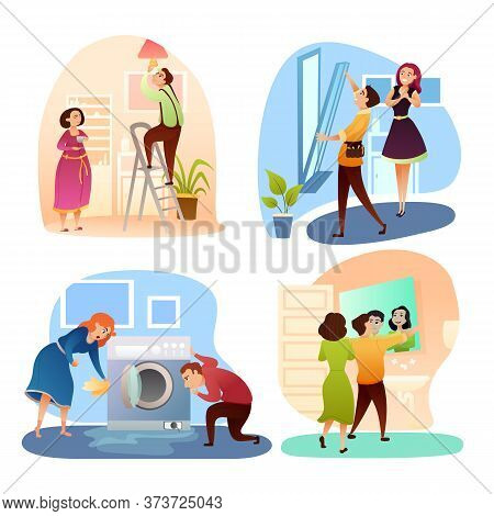 Spouse Help Wife At Home. Household Family Set. Cartoon Man Change Light Bulb Lamp, Repair Window An