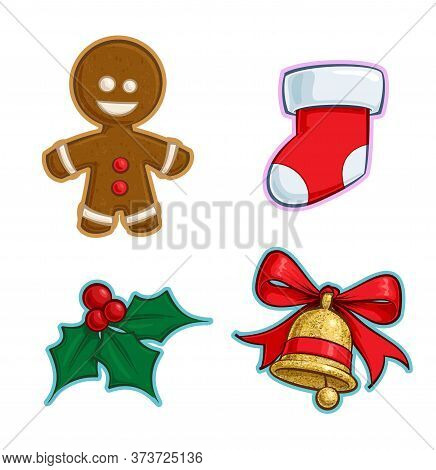 Vector Cartoon Icon Set Of A Gingerbread Man, A Red Stocking, A Holly Mistletoe And A Gold Glitter C