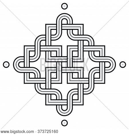 Vector Illustration Of A Viking Nordic Knot - Mystic, Decorative Symbol With Interweaved Golden Engr
