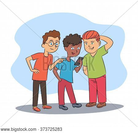 Multiracial Boys Friends Group Networking In Social Media Via Smartphone Cartoon. Communication Via