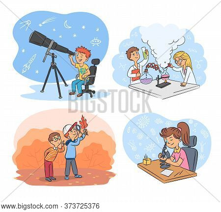 Kids Science And Exploration Cartoon Scenes Set. Astronomers, Researchers In Botany, Chemists, Physi
