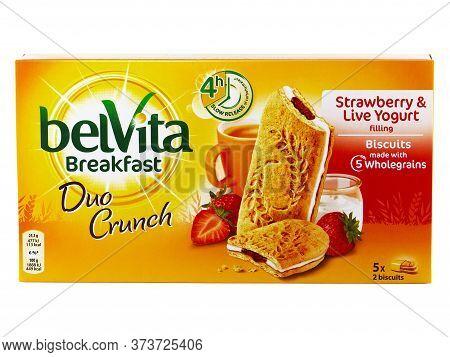 Bucharest, Romania April 7, 2016. Belvita Breakfast Duo Crunch, Strawberry And Live Yogurt Filling,