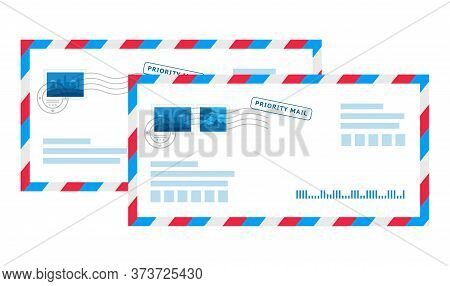 Priority Mail. Important Letter. Mailing Envelope With Label, Grunge Rubber Stamp And Seal, Striped