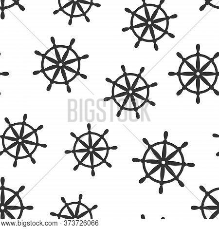 Helm Wheel Icon In Flat Style. Navigate Steer Vector Illustration On White Isolated Background. Ship