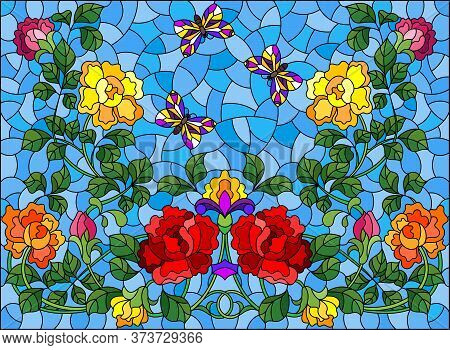 Illustration In Stained Glass Style With Intertwined Roses And Butterflies On A Blue Background, Hor