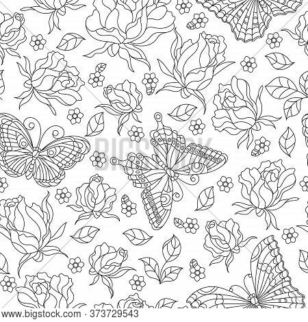 Seamless Pattern With Rose Flowers And Butterflies, Dark Contour Flowers And Insects On A White Back
