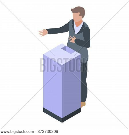 Bank Teller Box Icon. Isometric Of Bank Teller Box Vector Icon For Web Design Isolated On White Back