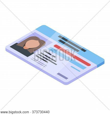 Bank Teller Id Card Icon. Isometric Of Bank Teller Id Card Vector Icon For Web Design Isolated On Wh