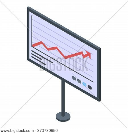 Trader Graph Banner Icon. Isometric Of Trader Graph Banner Vector Icon For Web Design Isolated On Wh