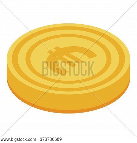 Euro Gold Coin Icon. Isometric Of Euro Gold Coin Vector Icon For Web Design Isolated On White Backgr