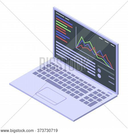 Trader Laptop Icon. Isometric Of Trader Laptop Vector Icon For Web Design Isolated On White Backgrou