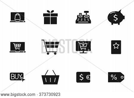 E Commerce Glyph Vector Icons Isolated On White. E Commerce Icon Set For Web Design, Mobile App, Use