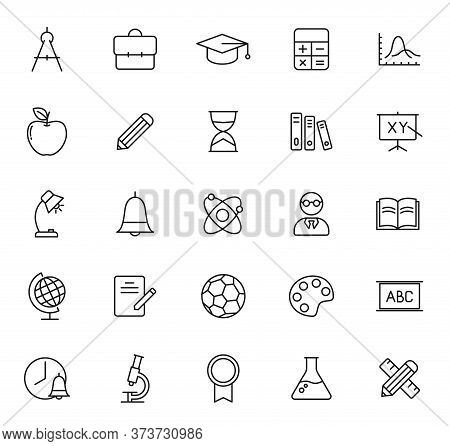 Education Outline Vector Icons Isolated On White Background. Education Icon Set For Web, Mobile Apps