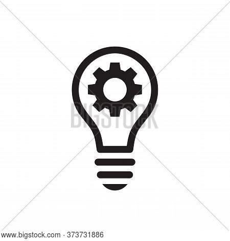 Lightbulb With Gear Cog Concept Black Icon Design. Seo Business Sign. Solution Symbol. Cogwheel Elec