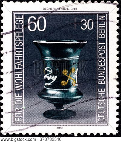 02 08 2020 Divnoe Stavropol Krai Russia The Postage Stamp Germany West Berlin 1986 Charity Stamps We