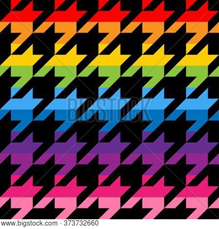 Houndstooth Tweed Pattern Design In Rainbow Colors - Funny  Drawing Seamless Pattern. Lettering Post