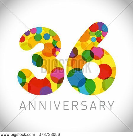 36 Th Anniversary Numbers. 36 Years Old Multicolored Congrats. Cute Congratulation Concept. Isolated
