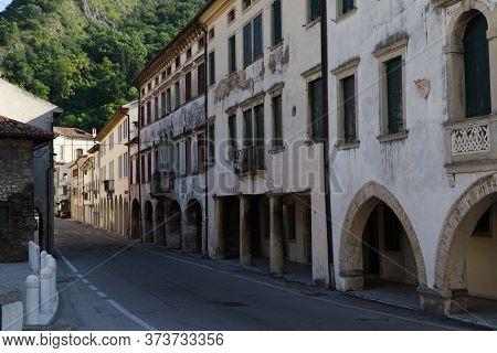 Italy, Vittorio Veneto, Detail View Of The Serravalle Neighborhood. The Village Of Serravalle Has Ve