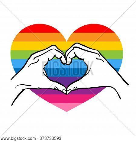 Love Is Love, Hand Heart Shape - Lgbt Pride Slogan Against Homosexual Discrimination. Modern Calligr