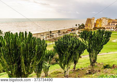 Fuengirola, Malaga, Spain - January 25, 2020: Fuengirola City, Viev From Sohail Castle, Tourist Attr