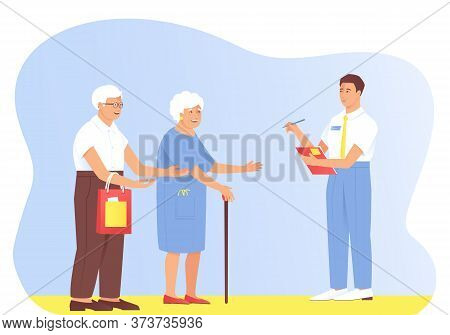 The Interviewer Asks Questions To The Older Couple. Grandparents Answer Test Questions. Sociological
