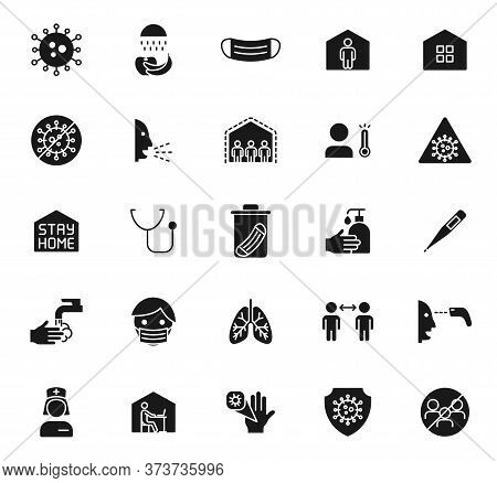2019-ncov Coronavirus Black Vector Icons Isolated On White Background. Covid-19 Icon Set For Web And