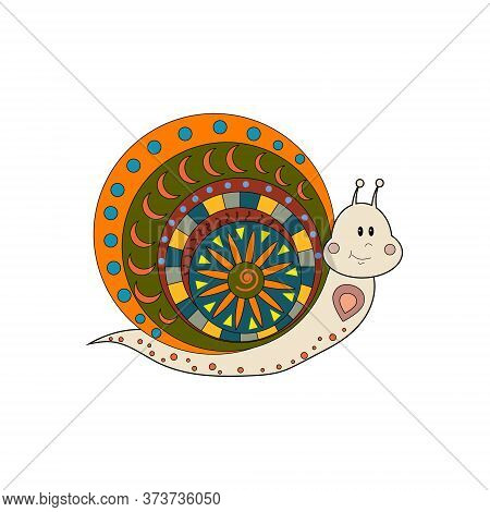 Multi-colored Isolated Snail On A White Background With An Ornament, Vector Illustration, Decor, App