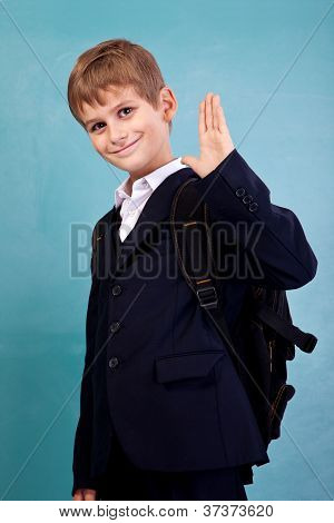 ?ute Schoolboy Show Sign Hello