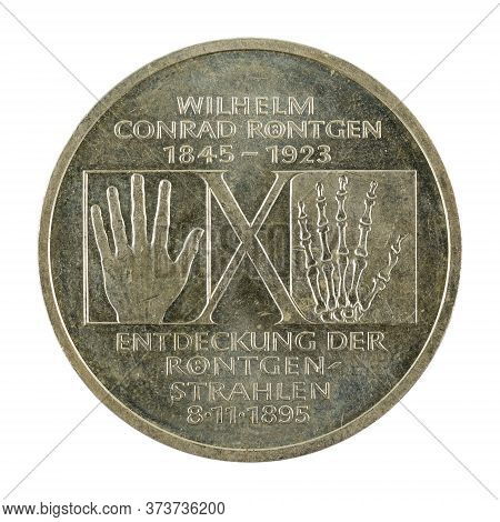 10 German Mark Coin Special Edition (1995) Obverse Isolated On White Background