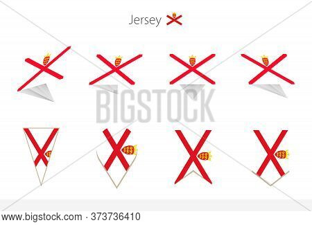 Jersey National Flag Collection, Eight Versions Of Jersey Vector Flags. Vector Illustration.
