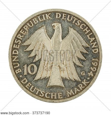 10 German Mark Coin Special Edition (1994) Reverse Isolated On White Background