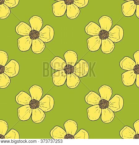 Seamless Pattern With Yellow Buttercups On Bright Green Background For Fabric, Textile, Clothes, Tab