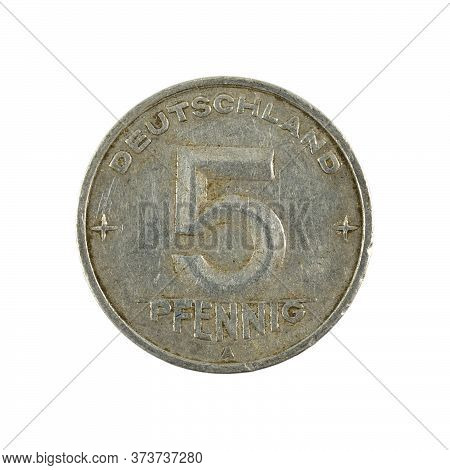 Historic 5 East German Pfennig Coin (1950) Obverse Isolated On White Background