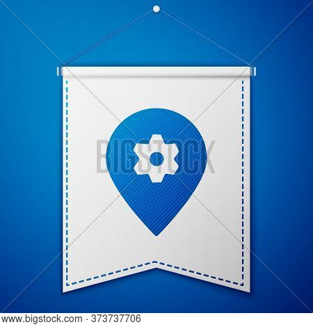 Blue Location With Car Service Icon Isolated On Blue Background. Auto Mechanic Service. Repair Servi