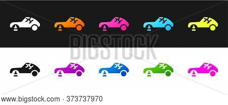 Set Broken Car Icon Isolated On Black And White Background. Car Crush. Vector Illustration