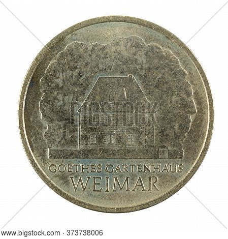 Historic 5 East German Mark Coin Special Edition(1982) Reverse Isolated On White Background