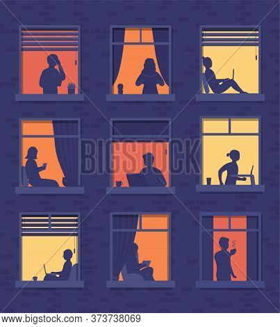 People In Windows Apartment Building Look Out Of Room Or Apartment, Work On Laptop, Talk On Phone, D
