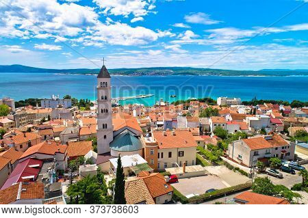 Crikvenica. Town On Adriatic Sea Waterfront Aerial View. Kvarner Bay Region Of Croatia