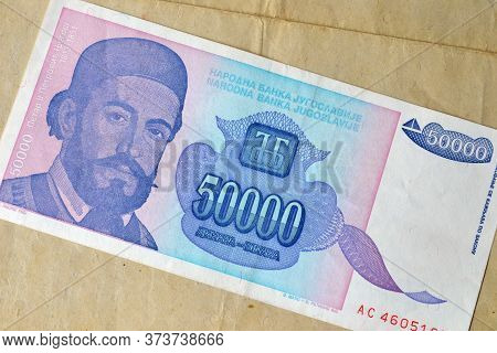 Obverse Of 50.00 Dinars Paper Banknote Issued By Yugoslavia That Shows Portrait Of Petar Petrovic Nj