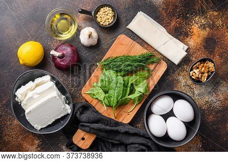 Traditional Greek Spanakopita Ingredients Filo Spinach Feta Top View.