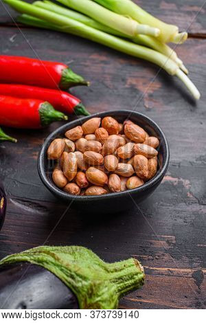 Sticky Teriyaki Aubergine Ingredients,  Peanut Close Up Side View.