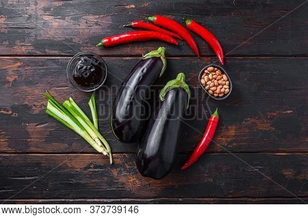 Sticky Teriyaki Aubergine Ingredients, For Cooking Or Grill Chili Pepper, Eggplant, Sauce, Nuts Top