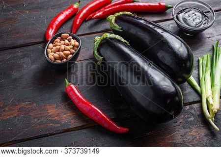 Sticky Teriyaki Aubergine Ingredients, For Cooking Or Grill Chili Pepper, Eggplant, Sauce, Nuts Side