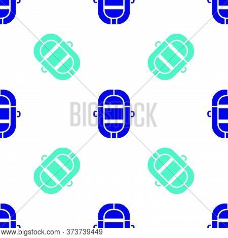 Blue Rafting Boat Icon Isolated Seamless Pattern On White Background. Inflatable Boat. Water Sports,