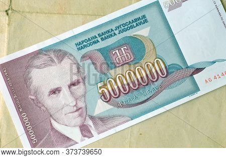 Obverse Of 5 Million Dinars Paper Banknote Issued By Yugoslavia That Shows Portrait Of Nikola Tesla
