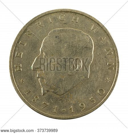 Historic 20 East German Mark Coin Special Edition(1971) Obverse Isolated On White Background