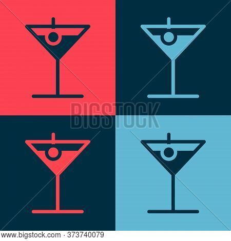 Pop Art Martini Glass Icon Isolated On Color Background. Cocktail Icon. Wine Glass Icon. Vector Illu