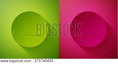 Paper Cut Acute Angle Of 45 Degrees Icon Isolated On Green And Pink Background. Paper Art Style. Vec