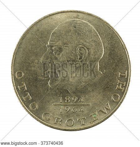 Historic 20 East German Mark Coin Special Edition(1973) Obverse Isolated On White Background