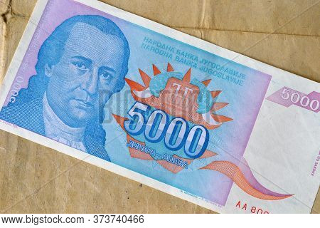 Obverse Of 5.000 Dinars Paper Bill Issued By Yugoslavia, That Shows Portrait Of Minister Dositej Obr